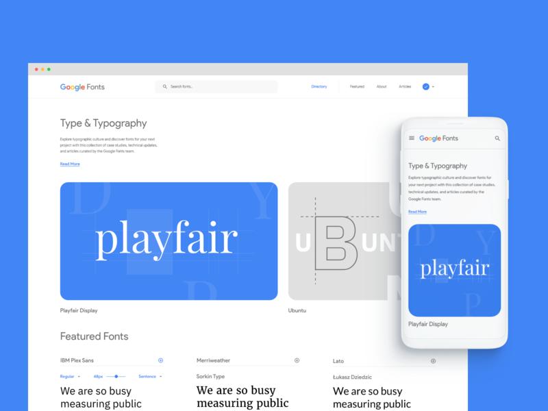 Google Fonts Concept landing exploration typography idea google fonts google details concept minimal clean web design layout ux ui
