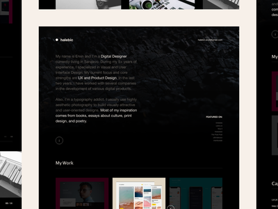 Personal Website Exploration minimalistic dark designer personal interaction interface modern details portfolio concept minimal clean web design layout ux ui