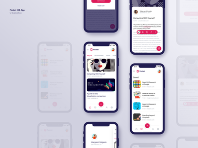 Pocket IOS App Exploration design interface save reading app pocket apple modern colors app ios app ios branding logo details concept layout ux ui
