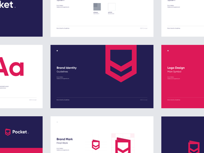 Pocket Brand Identity Concept guidelines visual design branding concept symbol mark exploration app pocket redesign brand identity branding brand logotype logo concept clean design