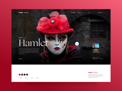 mask.theatre ogg red interface art direction visual design hamlet shakespeare theatre landing user experience interaction design concept colors minimal clean web design layout ux ui