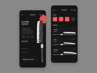 Knife App cart buy japanese culture japan knife ecommerce ui ux ui design app product design app design app concept ux ui