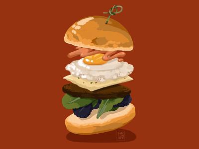 Custom Burger procreate food illustration food and drink burger food illustration