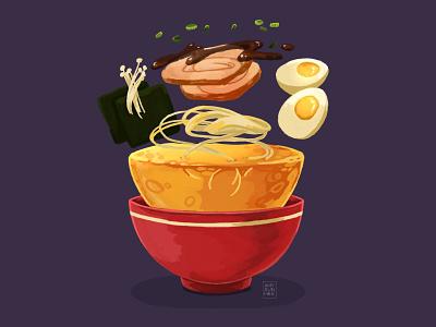 Ramen food illustration food and drink procreate noodles ramen food illustration