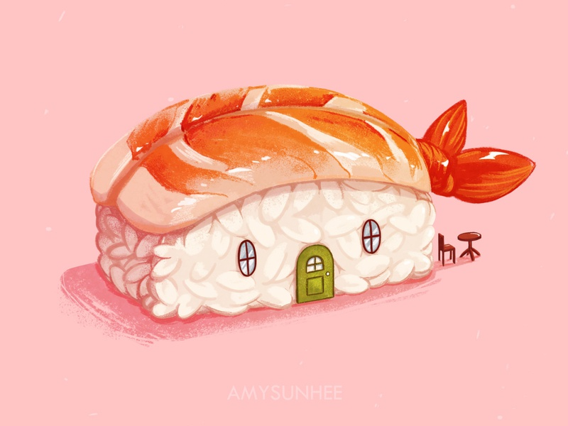 Sushi home 01 food illustration food sushi illustration design