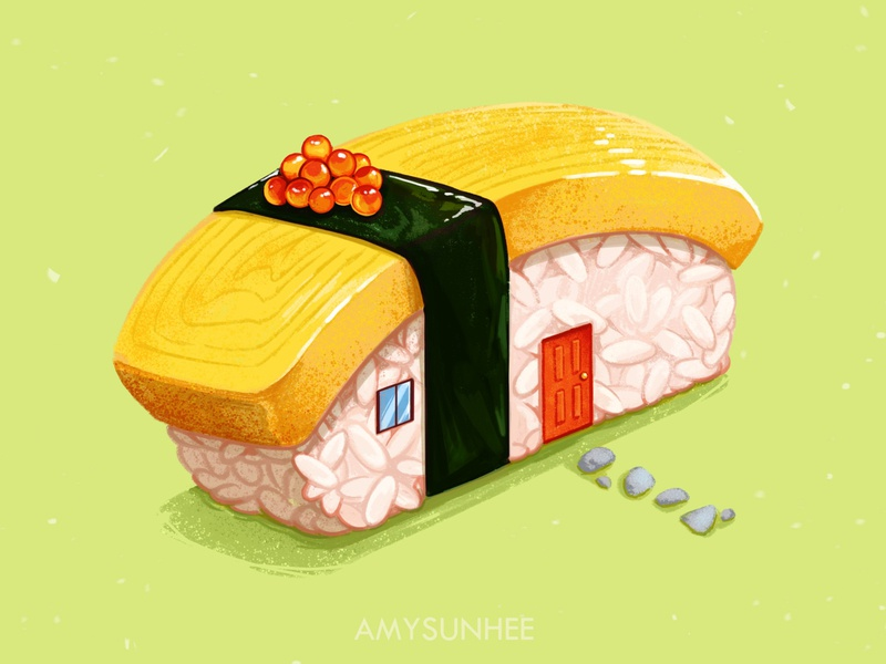Sushi home 02 nigiri food and drink food illustration sushi illustration design