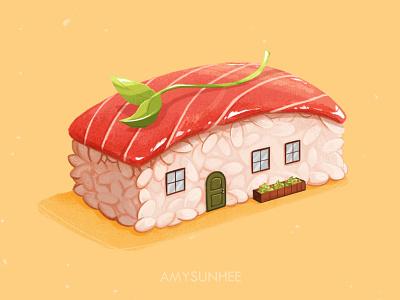Sushi home 03 tuna nigiri food illustration food and drink sushi illustration design
