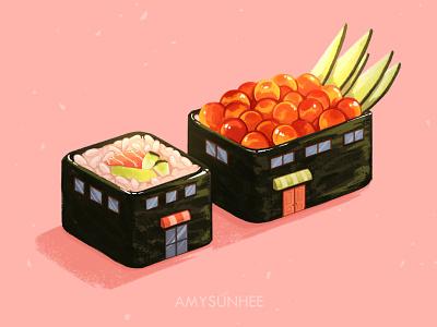 Sushi home 04 food salmon sushi food illustration food and drink illustration design
