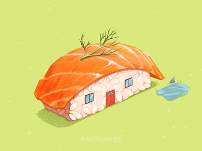 Sushi home 05 salmon sushi food illustration food and drink food illustration design
