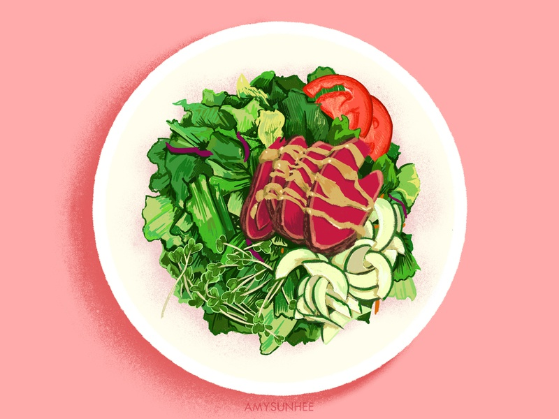 Ahi Tuna salad ipad procreate plate salad tuna design illustration food