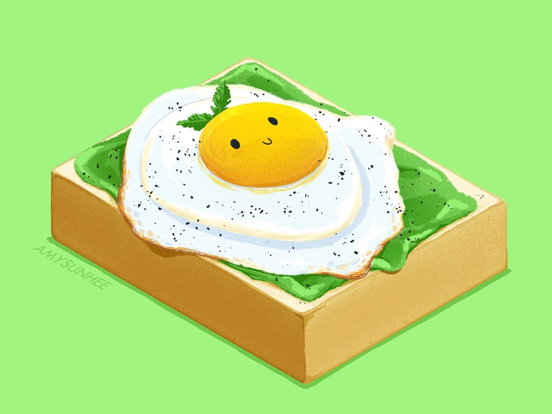 Egg Avocado Toast food and drink avocado toast egg procreate illustration food amysunhee