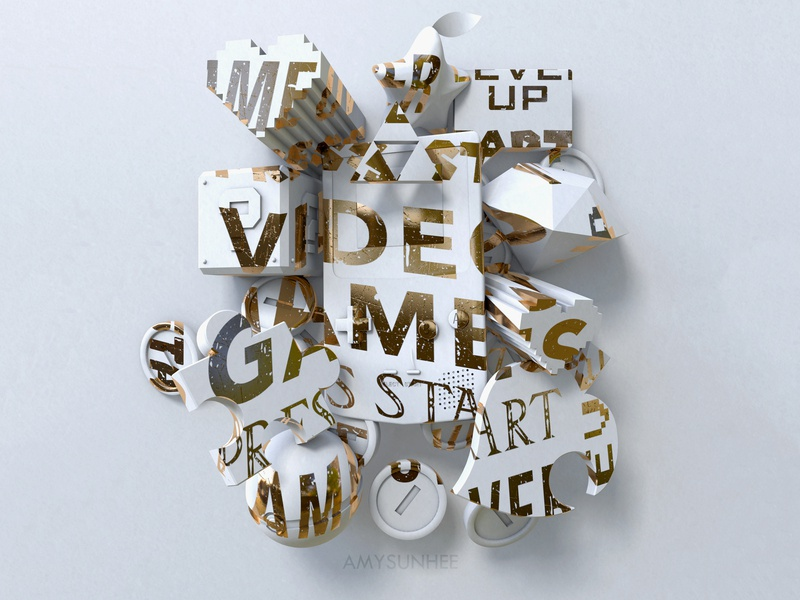 Video Games typography nintendo design cinema 4d 3d video games c4d