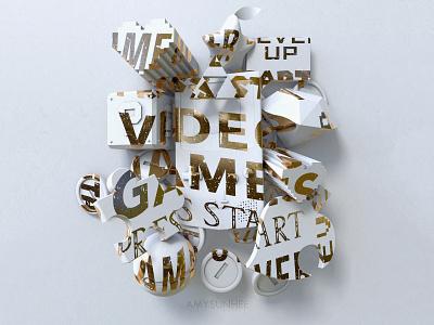 Video Games typography nintendo design cinema 4d 3d video games c4d