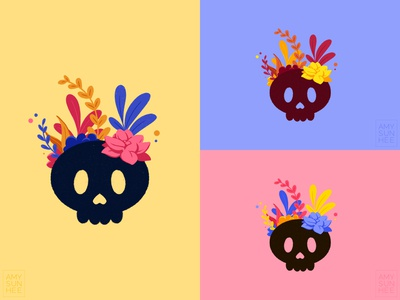 Flower skulls logo color palette skull plants design illustration