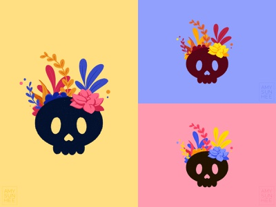 Flower skulls logo color palette skull plants design illustration