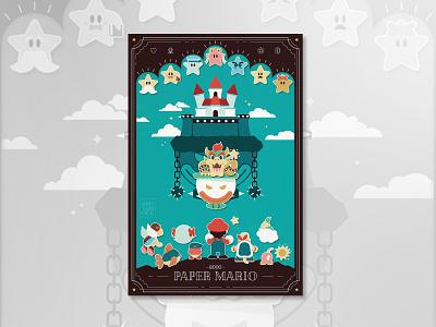 Paper Mario 64 Poster nintendo bowser paper mario mario vector video games graphic design illustration design