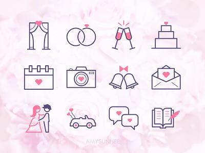 Wedding icons marriage equality wedding iconography icon set icons design illustration vector