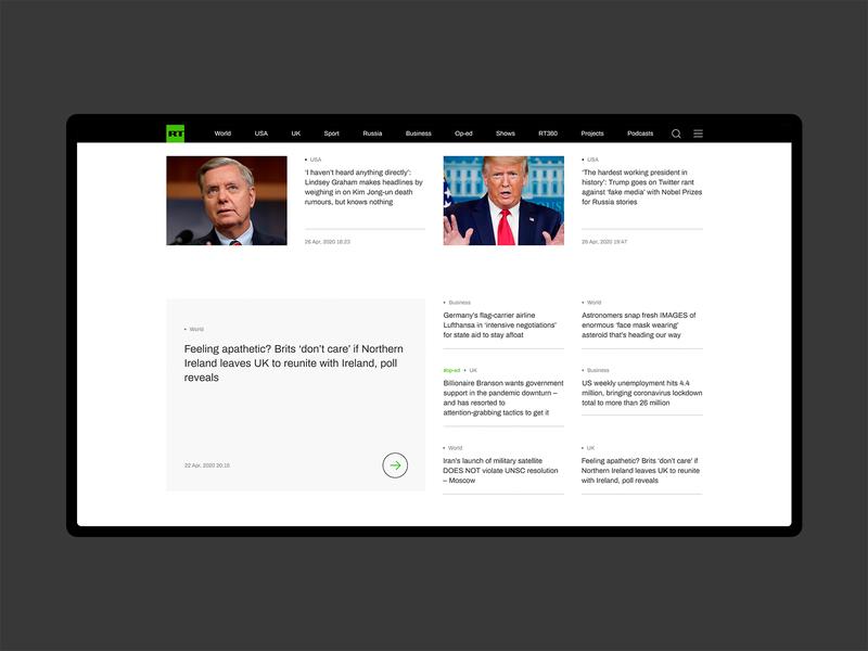 RT concept – Main page main page news minimalism webdesign ux ui