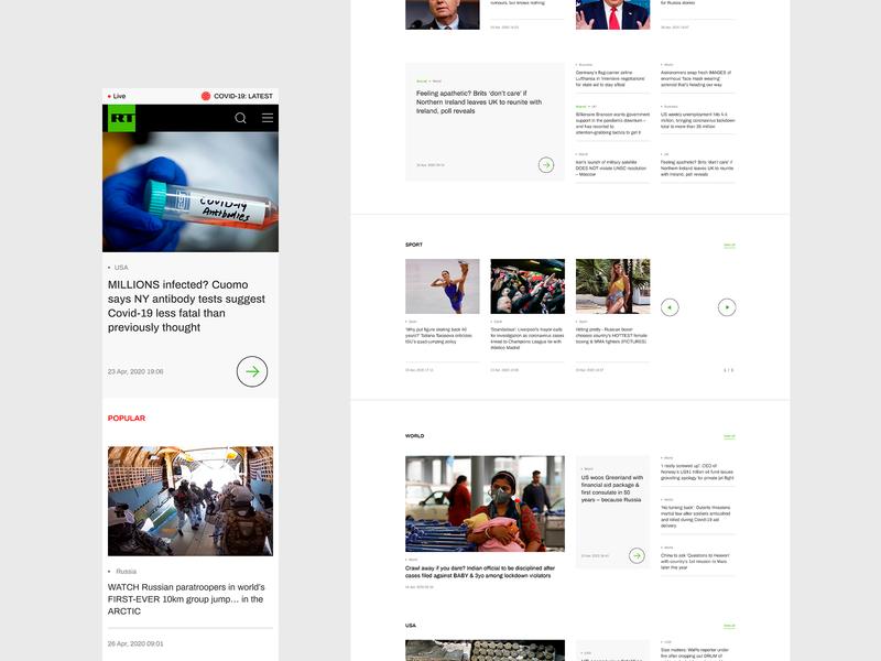 RT news minimalism mainpage website webdesign ux ui
