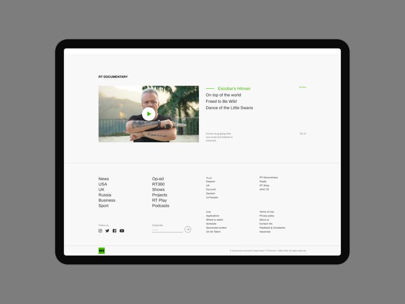 RT tablet footer news webdesig website minimalism web ux ui