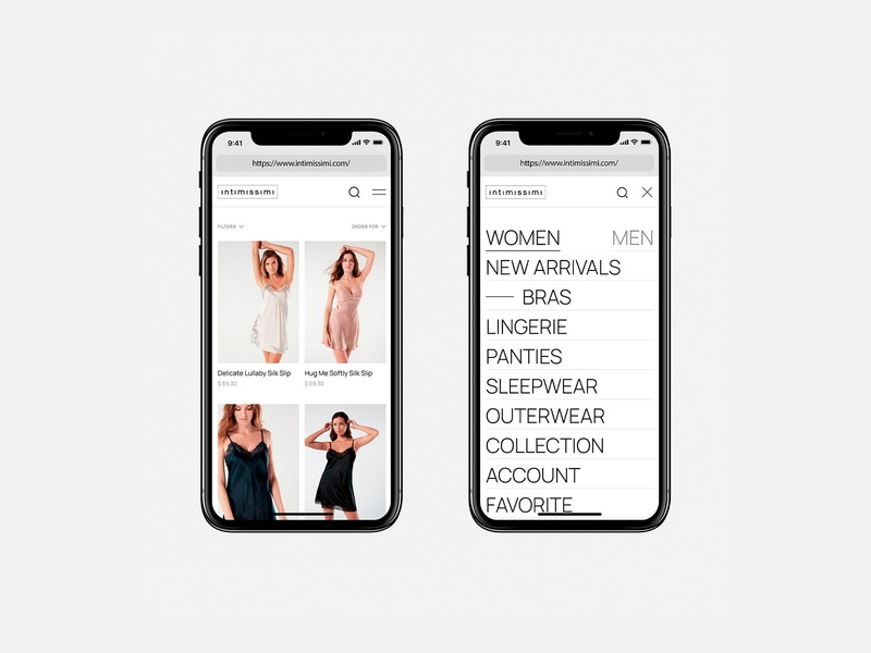 Intimissimi online store catalog menu e-commerce store website uidesign uxdesign webdesign minimalism