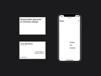 Portfolio website. website minimalism mobile design menu businesscard uidesign uxdesign webdesign minimal