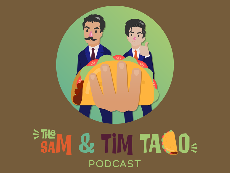 The Sam & Tim Taco Podcast illustration podcast logo design logo podcast