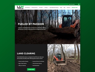 Lagestee Land Management Website dark dark theme drainage dirt land clearing land forestry forest green masculine construction web ux design wordpress ux-ui web design