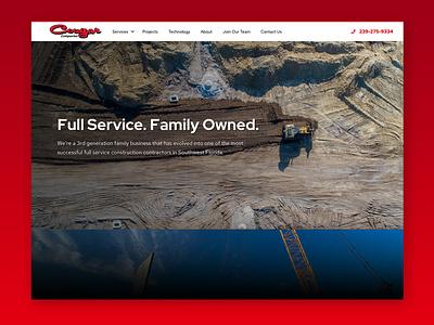 Cougar Companies Website clean dark theme dark construction website construction company masculine construction ux web design wordpress web design ux-ui