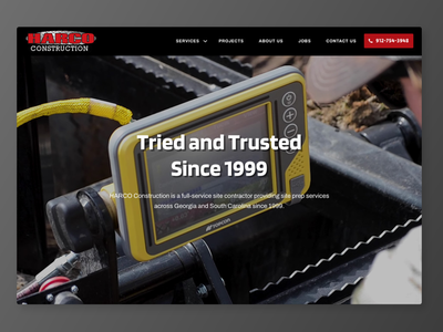 Harco Construction Website ux-ui web design wordpress design construction masculine construction company construction website dark theme web concrete