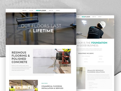 Resfloor Website typography graphic designer designer epoxy resinous concrete flooring industrial miminal clean ui ux web ux-ui design wordpress web design
