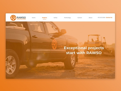 Website: Rawso Constructors website banner ux-ui wordpress web design