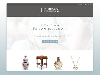 Website: Harrison's Fine Antiques & Art ecommerce typography ux web design wordpress web design ux-ui