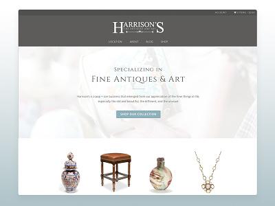 Website: Harrison's Fine Antiques & Art ecommerce typography ux web design wordpress web design ux-ui