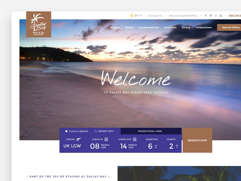 Web design for a Resort Company in the Caribbean