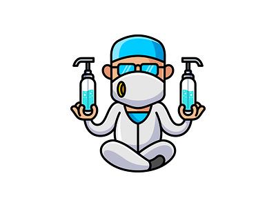 Doctor Sanitizer corona virus cute vector mascot hand sanitizer logo doctor