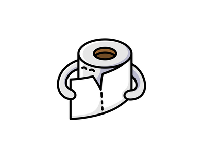 Toilet Paper cute vector icon character logo rare item toilet wc roll tissue toiletpaper