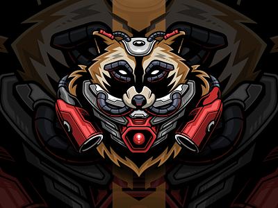 Steel Raccoon mecha robot illustration animal t shirt merchandise merch logo vector raccoon