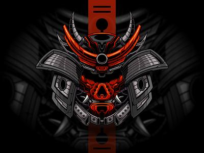 Mecha Samurai vector mascot character logo esportlogo illustration merchandise merch t shirt esport devil ronin samurai japan mecha