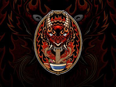 Dragon Ramen illustration animal vector mascot naruto tshirt apparel fire chinese food ramen japanese dragon
