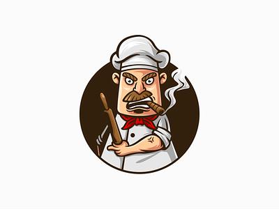 Angry Chef restaurant food cartoon mascot chef logo cook kitchen chef