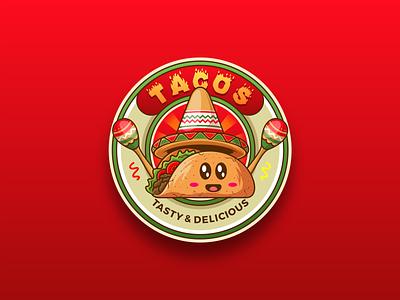 Tco Tuesday! sign badgedesign sticker emblem badge taco food cartoon cute illustration vector character logo mascot