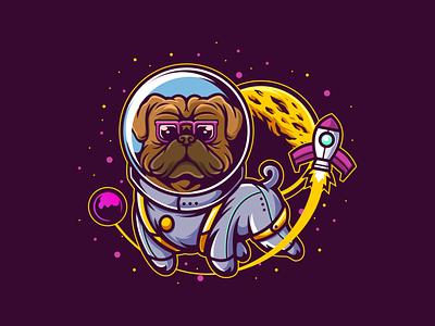 Astro Pug design cute animal vector character space pet dog t-shirt illustration cartoon astronaut pug logo mascot