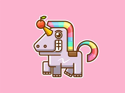 Weird Unicorn cartoon horse unicorn design cute illustration animal vector character logo mascot