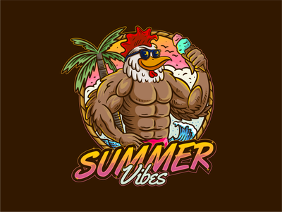 Beach Chicken beach summer handdrawn cute illustration animal vector character logo mascot roaster chicken