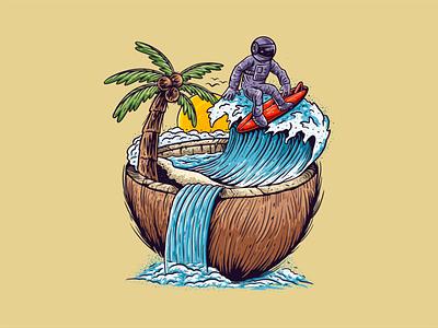 Surfing Astronaut surfing beach coconut apparel t-shirt handdrawn illustration vector astronaut
