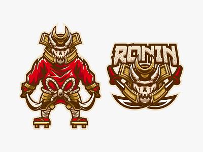 RONIN cartoon team gaming game sport esport logo samurai