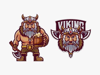 VIKING nordic medieval character team sport esport logo chubby cartoon mead beer viking