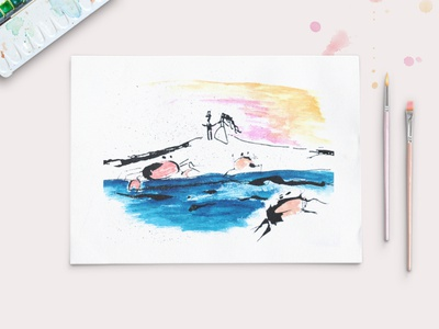 By the shore - Ink and Acrylic Illustration limerick paint mixedmedia art ink acrylic graphic design design illustration