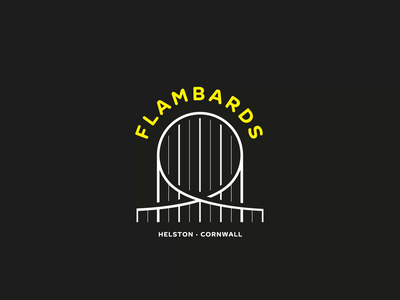 Flambards identity design identity dribbbleweeklywarmup helston cornwall icon ride vector looping rollercoaster loop animation theme park animation illustration branding design logo motion gif loop
